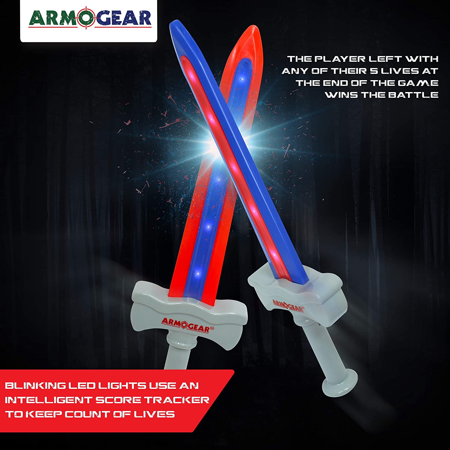 ArmoGear Kids Toy Sword Battle Electronic Game - Contains 2 Interactive Play Swords – LED Lights, Sound Effects & Intelligent Score Tracker - 100% ...