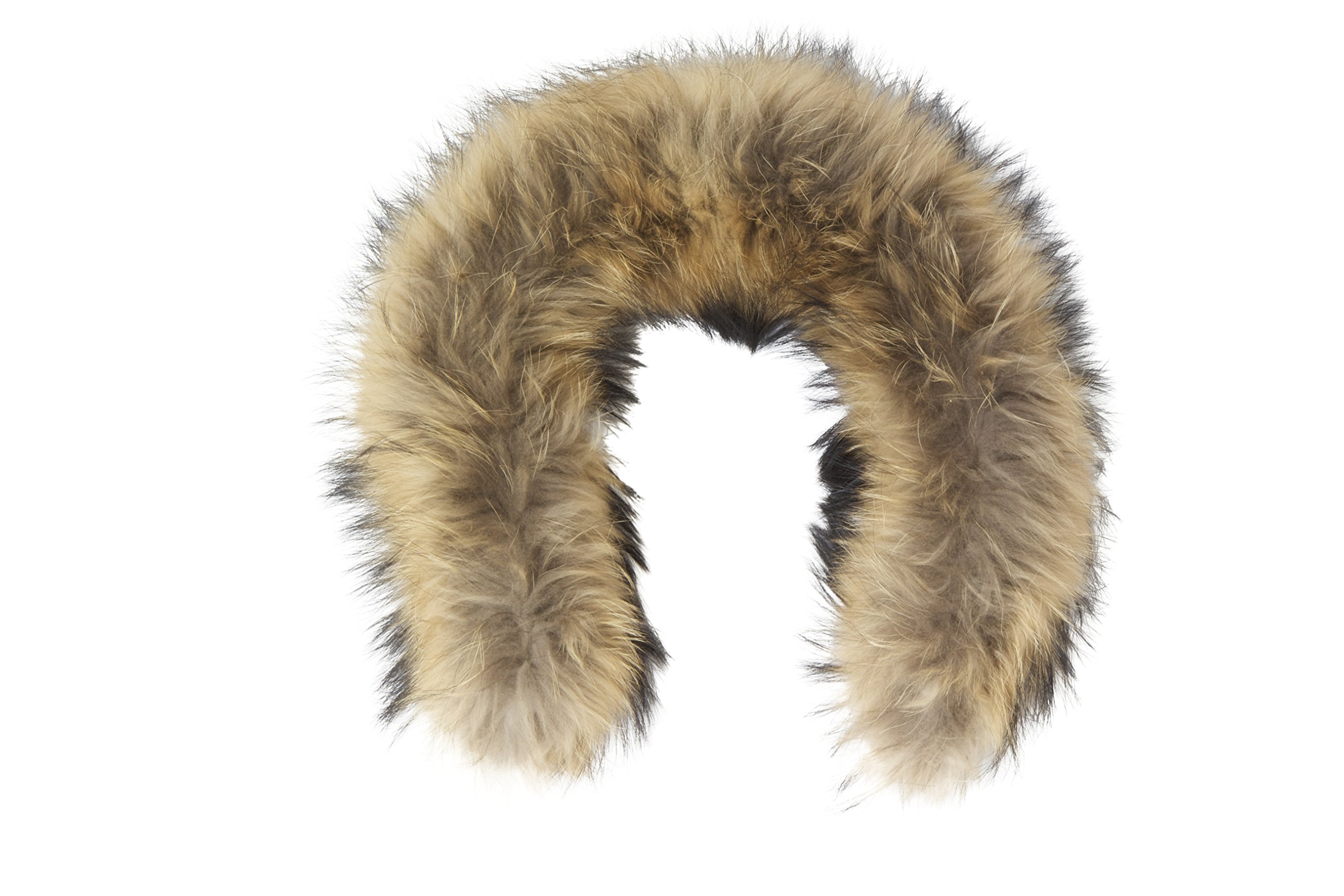 MILLY REICH Raccoon fur hood trim for coat with loops and buttons (natural color) (4. CRAZY THICK AND WIDE)