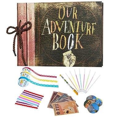 Acerich Scrapbook Photo Album, 11.6  x 7.5  Anniversary Adventure Scrapbook, 80 Pages large Scrapbook for Anniversary, Wedding, Travelling, Baby Shower, etc - Including DIY Scrapbooking Supplies Kit