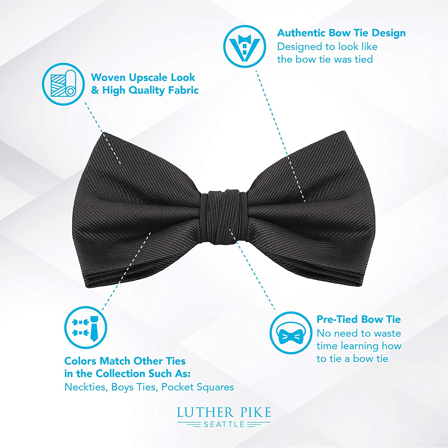 3bea92176309 Black Bow Ties For Men - Mens Woven Pre Tied Bowties For Men Bowtie Tuxedo  Solid Color Formal Bow Tie at Amazon Men's Clothing store: