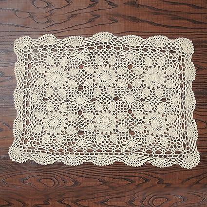 Amazoncom Yazi Rustic Sofa Doilies Crochet Table Mat Cotton Beige