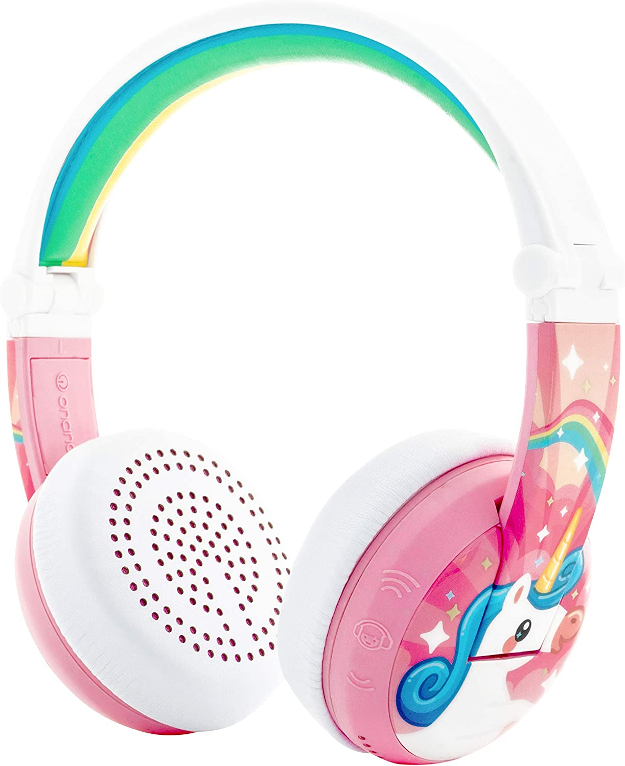 ONANOFF BuddyPhones Wave, Waterproof Wireless Bluetooth Volume-Limiting Kids Headphones, 20-Hour Battery Life, 4 Volume Settings of 75, 85, 94db and StudyMode, Includes Backup Cable for Sharing, Pink