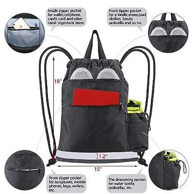 Senior Blue Drawstring Bag Backpack Large Front Zipped Pocket All Sports Gym Bag