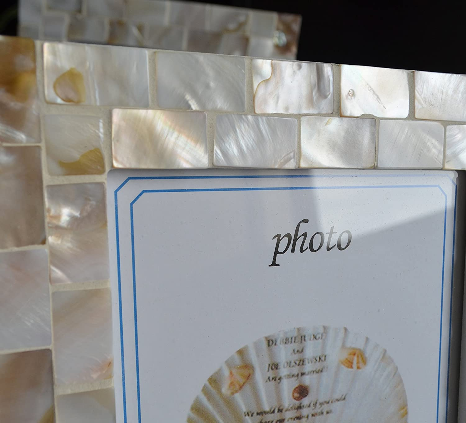 GIFTME 5 Mother of Pearl Mosaic Photo Frames 3.5by5 Beach Tabletop Picture Frame 3.5x5, White
