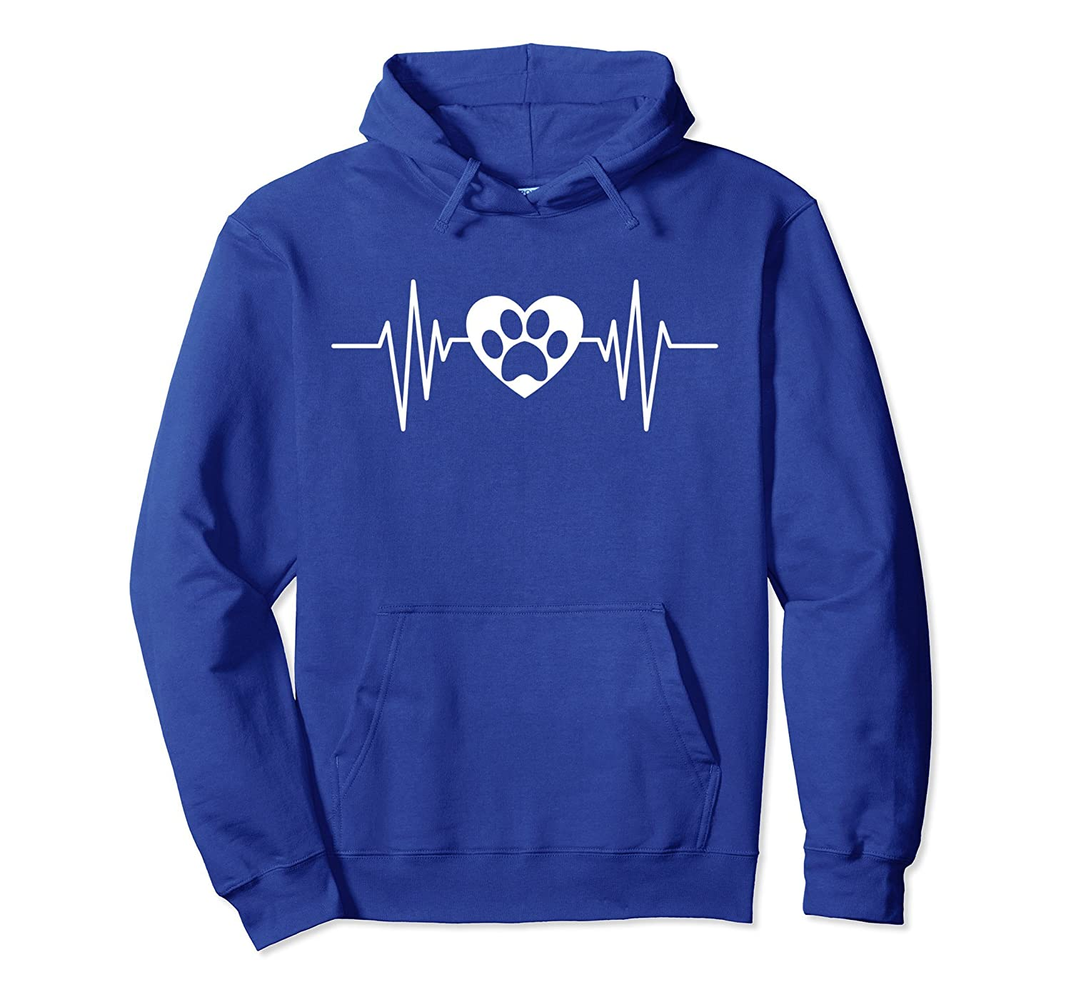 Paw print Heartbeat Rescue Dog Cat Gift Him or Her Hoodie-Bawle