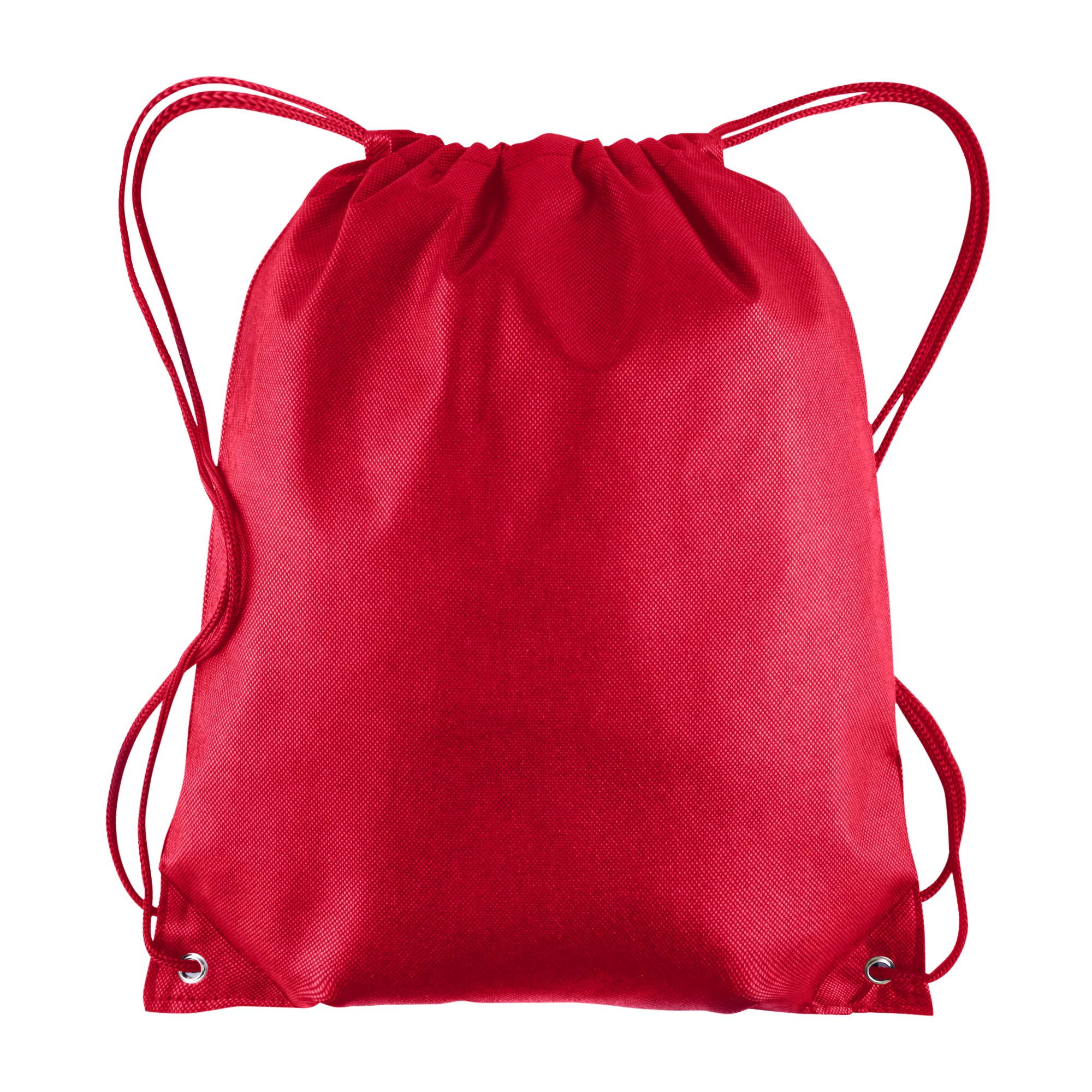 Pack of 25 - Non-Woven Promotional Drawstring Bags - Drawstring Backpack in BULK - String Backpack - String Bag - Drawstring Tote Bag - Cinch Bag - 13.5''W x 15.5''H (Red)