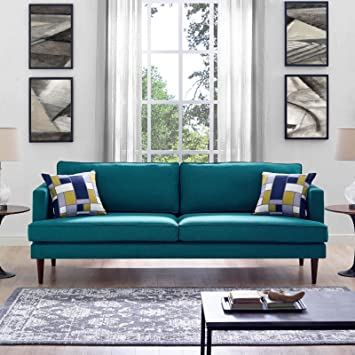 Amazon.com: Modway Agile Upholstered Fabric Contemporary Modern Sofa In Teal: Furniture & Decor