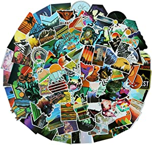 100PCS Wilderness Nature Stickers Outdoors Hiking Camping Travel Adventure Stickers Laptop Stickers Car Skateboard Motorcycle Bicycle Luggage Guitar Bike Decal(Outdoors Hiking)
