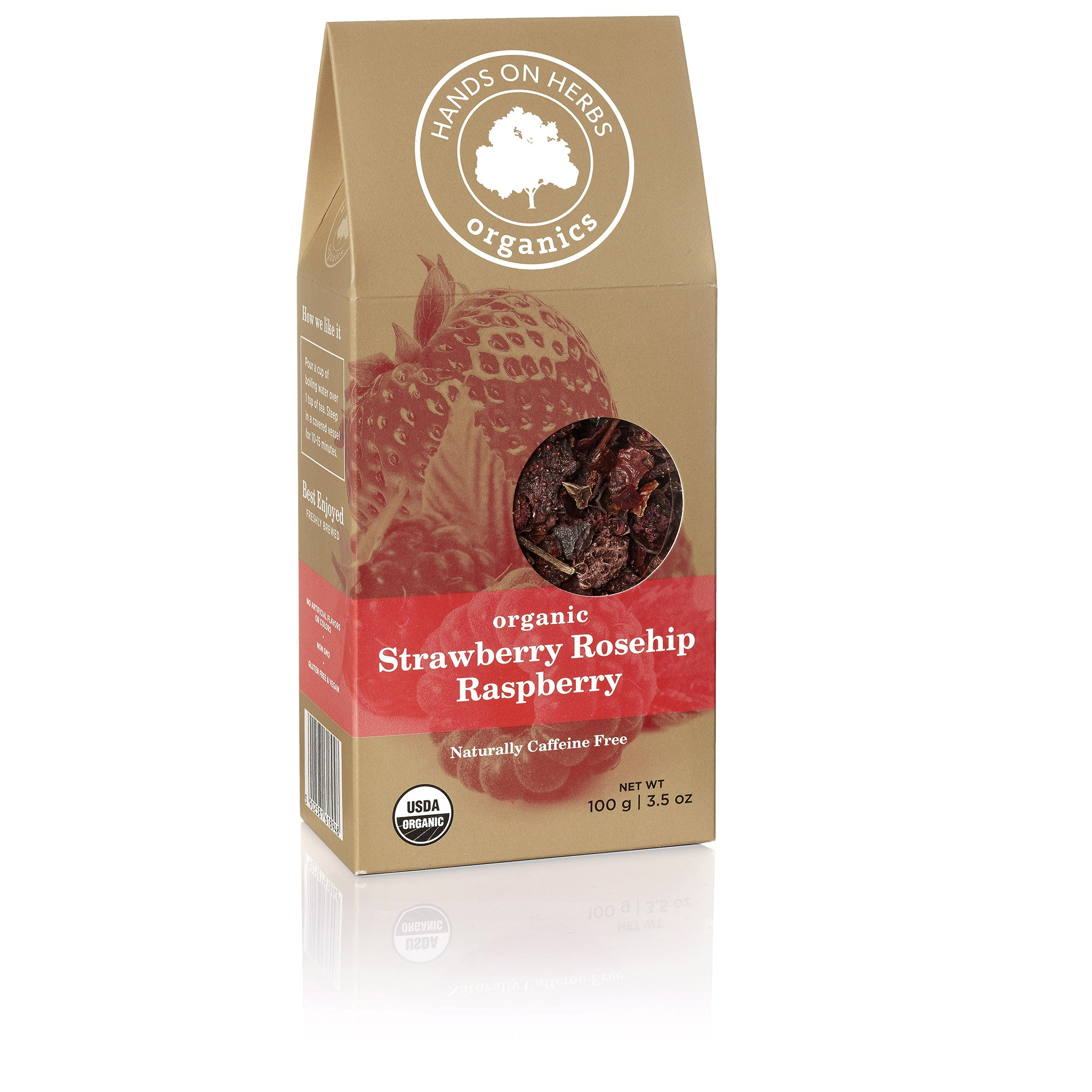 Hands on Herbs Organics Strawberry Rosehip Raspberry Tea | Beautiful and Fragrant Fruit Tea with Organic Whole Fruits - Organic Strawberries, Red Raspberries and Rosehips 3.5 ounces | 100 grams