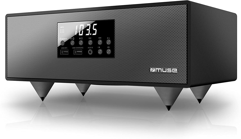 Muse M-630 BT - Altavoz con pantalla LED, USB, mando a distancia, color negro