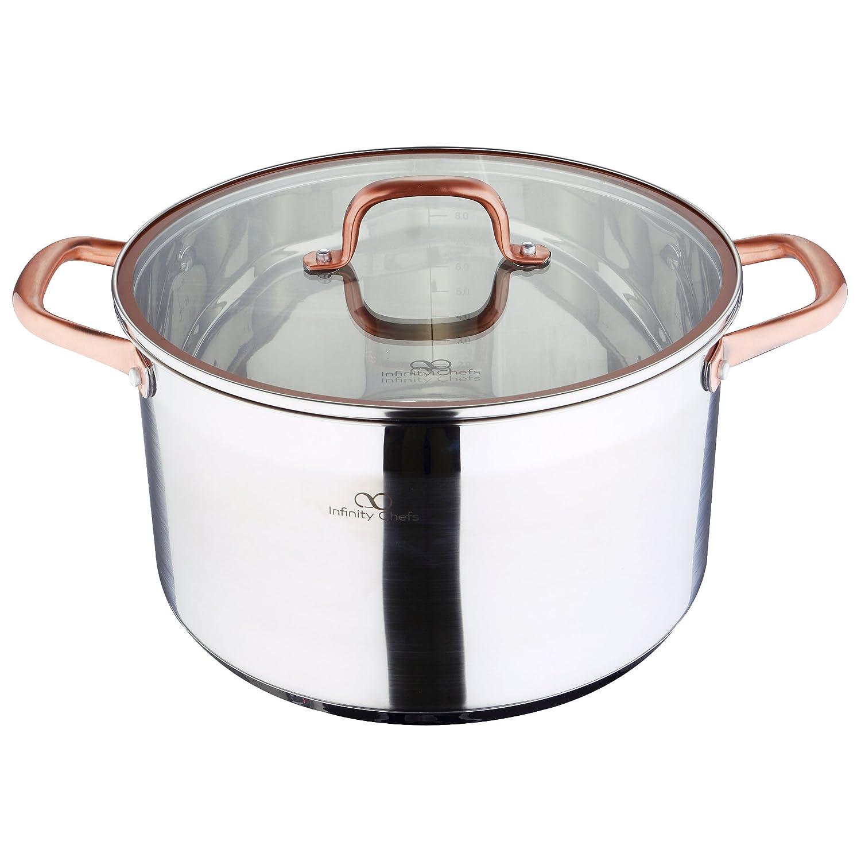 Infinity Chef Stock Pot with Lid, Silver, 9.5 Litre/28 x 16.5 cm BGIC-3506 Q1951_Bicolor