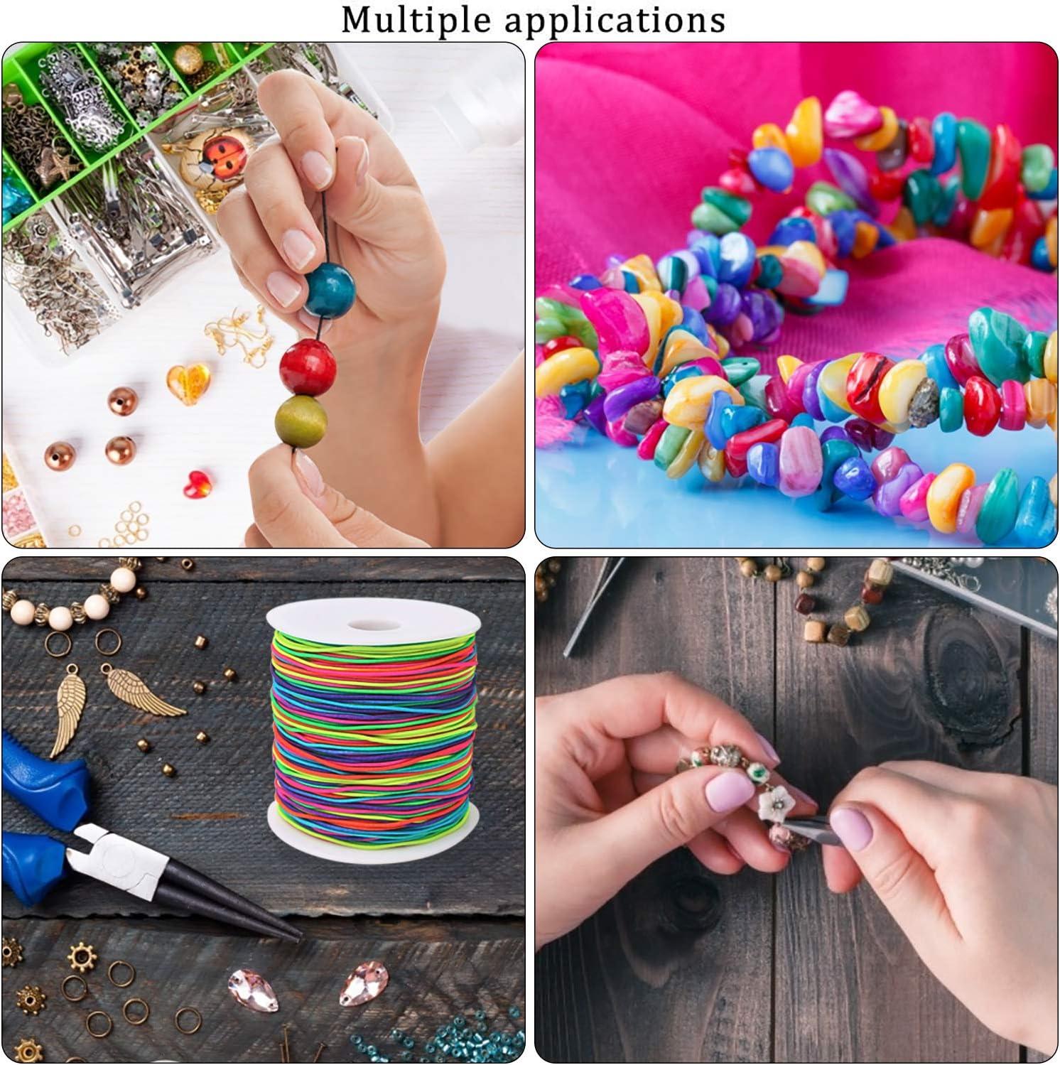 joyas hilos el/ásticos para abalorios manualidades, varios colores blanco y negro y arco iris, 100 m//rollo VEYLIN 3 rollos de cordones el/ásticos de 1 mm