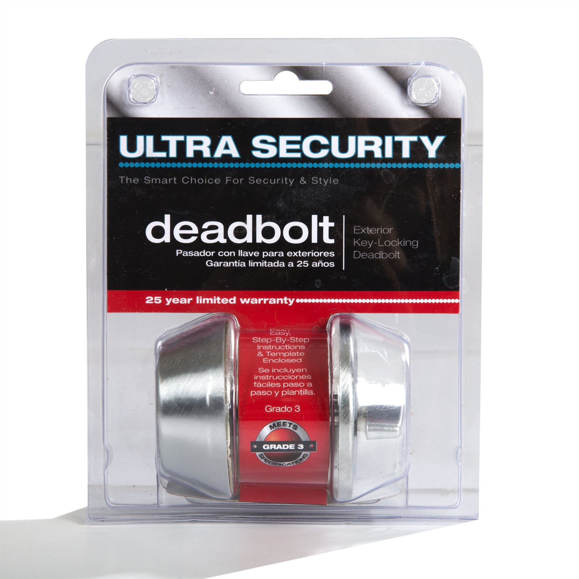 Ultra Hardware 43978 Ultra Security Plus Single Cylinder Deadbolt Two-Way Adjustable, Stainless Steel K3