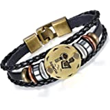 Young & Forever valentine gifts special Zodiaco Choose Your Zodiac Sign Constellation Handmade Black Genuine Leather Unisex bracelet for mens / boys