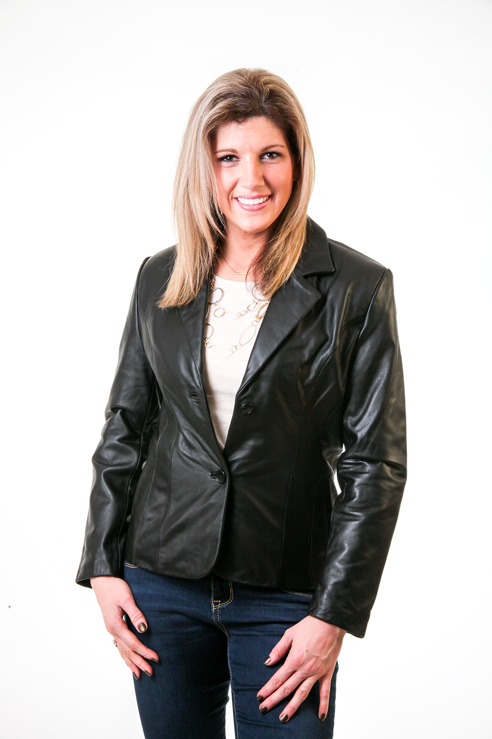 Lee Cobb Women's Genuine Smooth Lambskin Leather Blazer Jacket Button up size 6 by Lee-Cobb