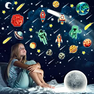 170 Pieces Glow Wall Stickers Solar System Glowing Wall Decals Bright Luminous Planets and Stars Stickers for Kids Bedroom Living Room Decor