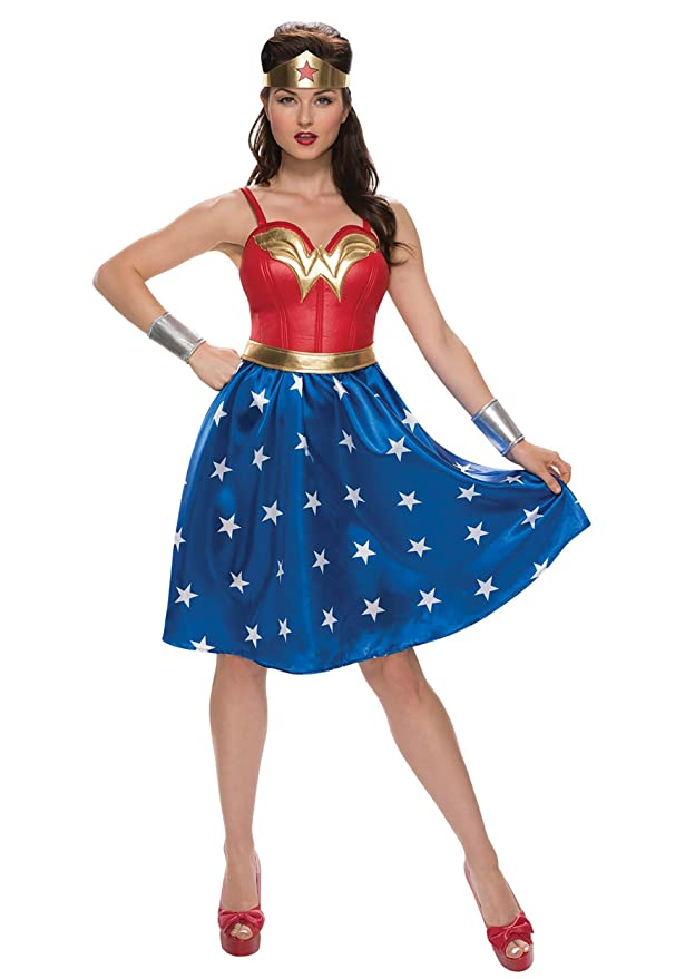 1940s Style Dresses and Clothing Rubies Costume Co. Inc womens Deluxe Plus Size Long Dress Wonder Woman Costume $64.99 AT vintagedancer.com