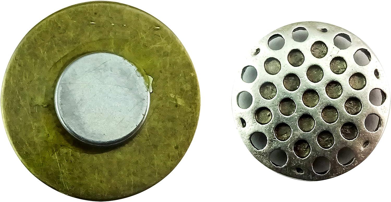fabriqu/é /à la main Broche aimant/ée /à clip pendentif en bronze vieilli 20 mm pissenlit noir sur bleu