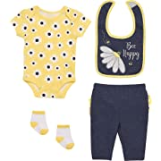 Mini B. by Baby Starters 4-Piece Layette Set with a Lap Shoulder Bodysuit, Pull-on Pants with Rumba Ruffles, 2 ply Cloth Bib and Coordinating Pair of Socks (Chambray/Yellow, Bee Happy, 6-9M)