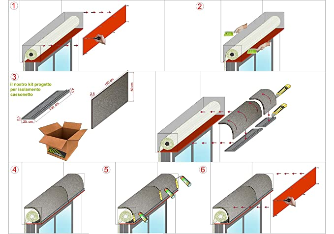 Kit tipo Plus para aislamiento acústico térmico. Cajón acústico. Persianas. Cortinas enrollables de ventanas. Detención de ruido y de escapes.