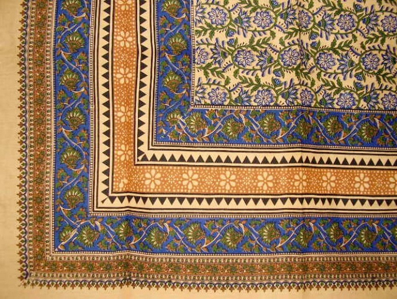 Turkish Floral Print Tapestry Cotton Spread 106'' x 70'' Twin Blue