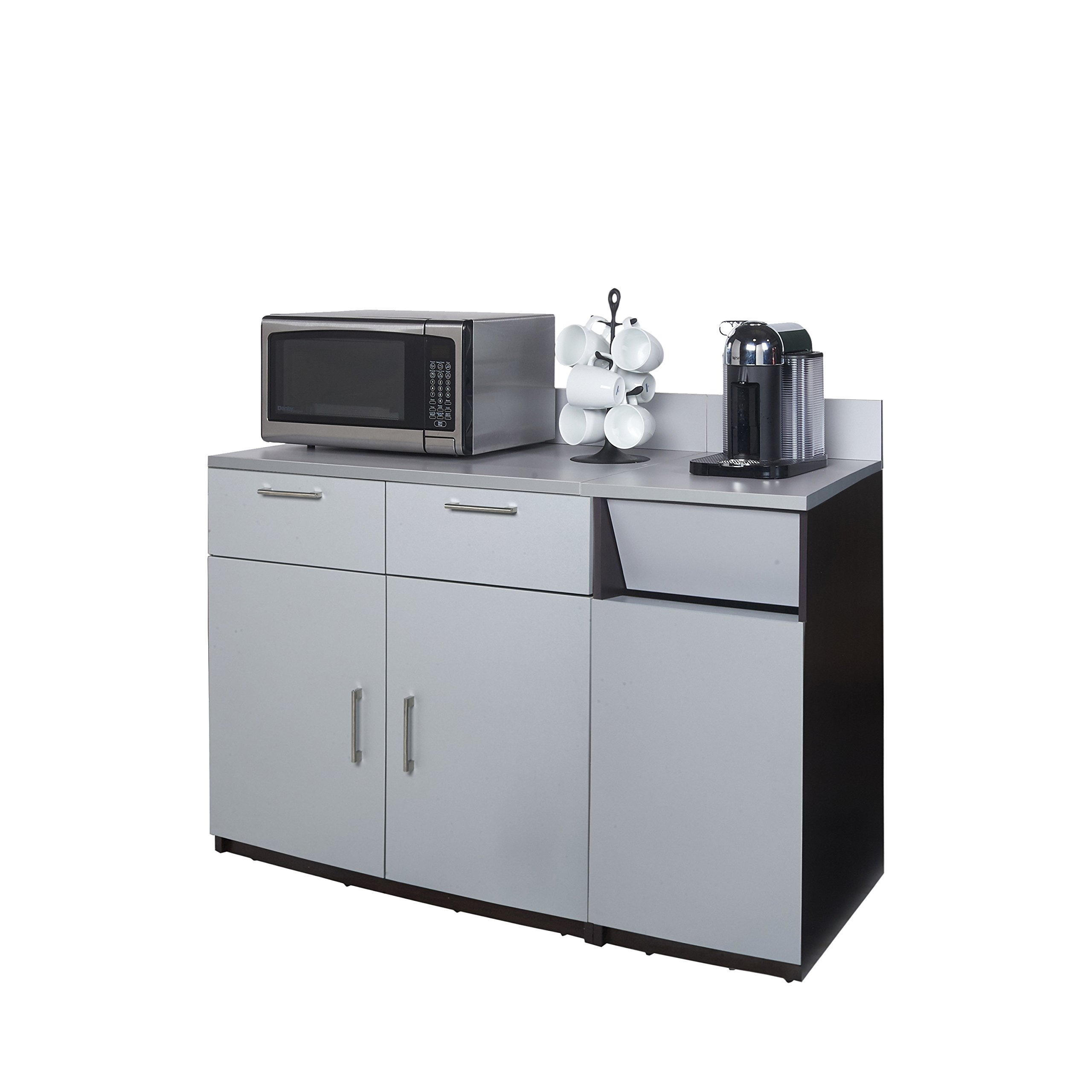 Coffee Kitchen Lunch Break Room Cabinets Model 4285 BREAKTIME 2 Piece Group Color Espresso/Silver Metallic - Factory Assembled (NOT RTA) Furniture Items ONLY. by Breaktime (Image #1)