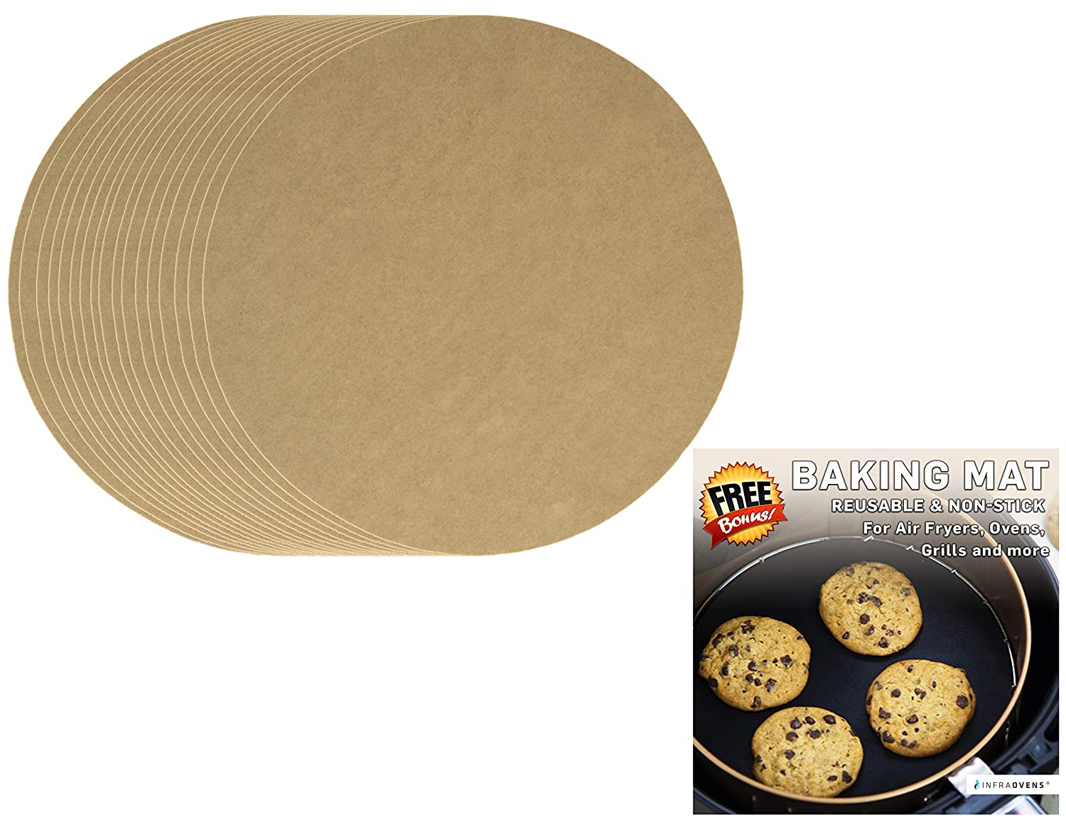 100pcs Air Fryer Parchment Paper Sheets For Baking + Non-Stick Grill Mat Compatible with GoWise, Black and Decker, Bella | Round Pre-Cut Liners by Infraovens