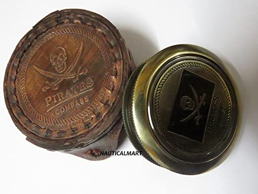 Deluxe Adult Costumes - Pirates of the Caribbean Jack Sparrow antique brass pocket compass with a beautiful leather case