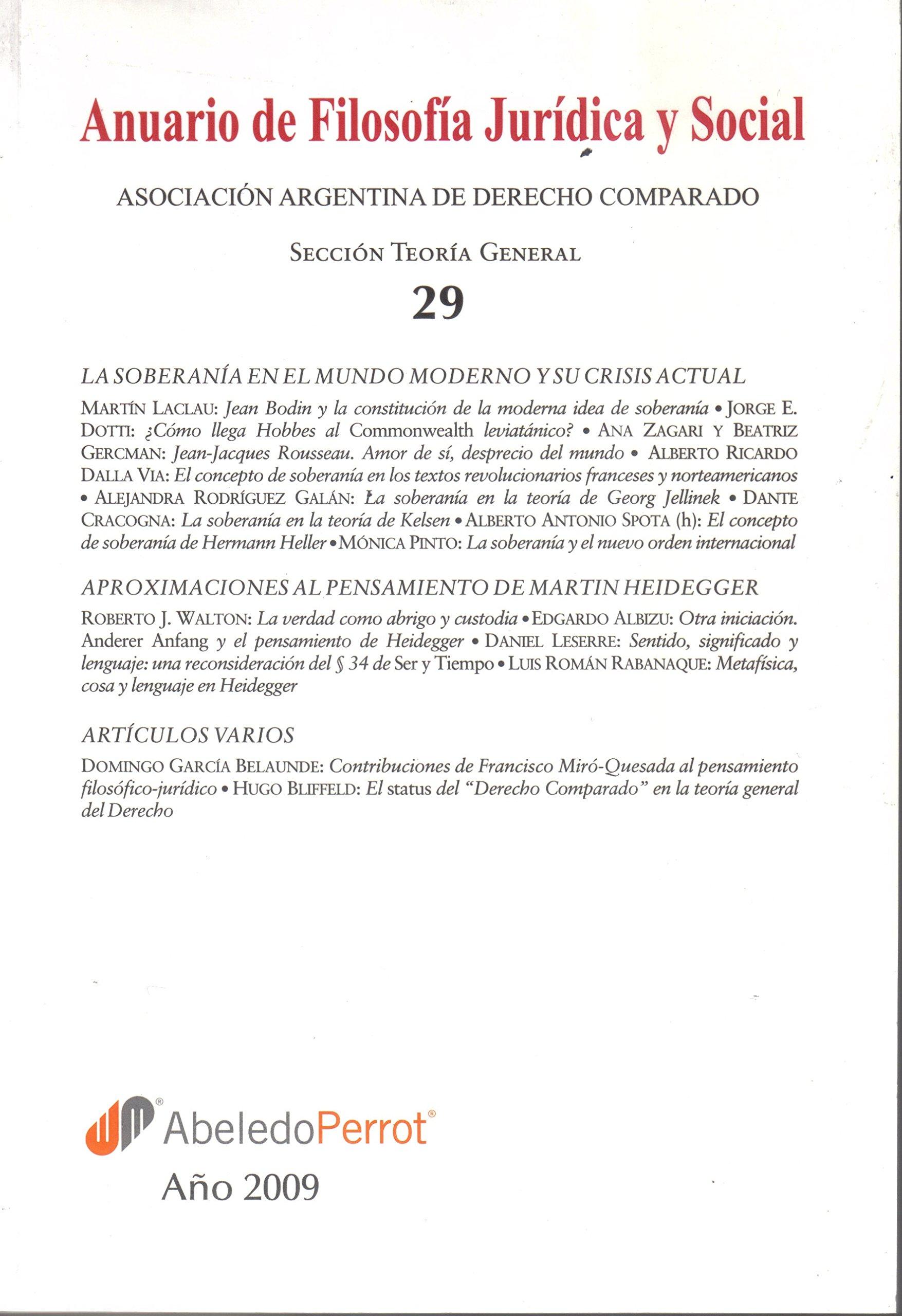 Anuario de filosofía jurídica y social. n° 29 (Spanish) Paperback – 2010