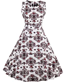 Women s 50s Vintage Floral Sleeveless Dress Spring Garden Swing Party  Picnic A Line Cocktail Dress ea7789263