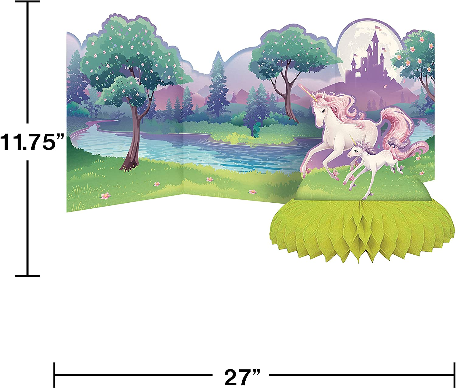 Paper Creative Converting 265603 Unicorn Fantasy Center Piece with Honeycomb Base Party Supplies Multicolor