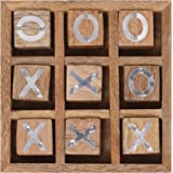 Earthly Home Premium Hand Carved Wooden Tic Tac Toe Game for Kids 7 and Up, Home Decor for Living Room, Antique Design…