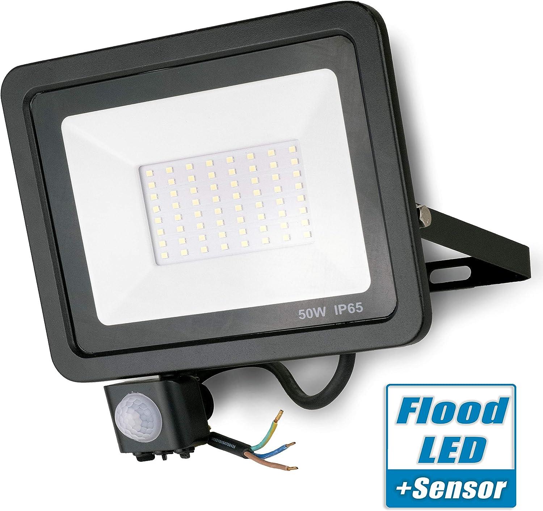 Popp Foco con Sensor Movimiento Proyector LED Exterior Iluminación de Exterior Segura, Impermeable IP65, Lámpara de luz blanca para Jardín, Camino,resistente al agua. (50): Amazon.es: Iluminación