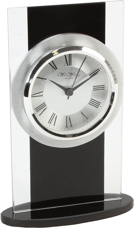 Widdop /él/égant Noir et verre clair Horloge de chemin/ée WM