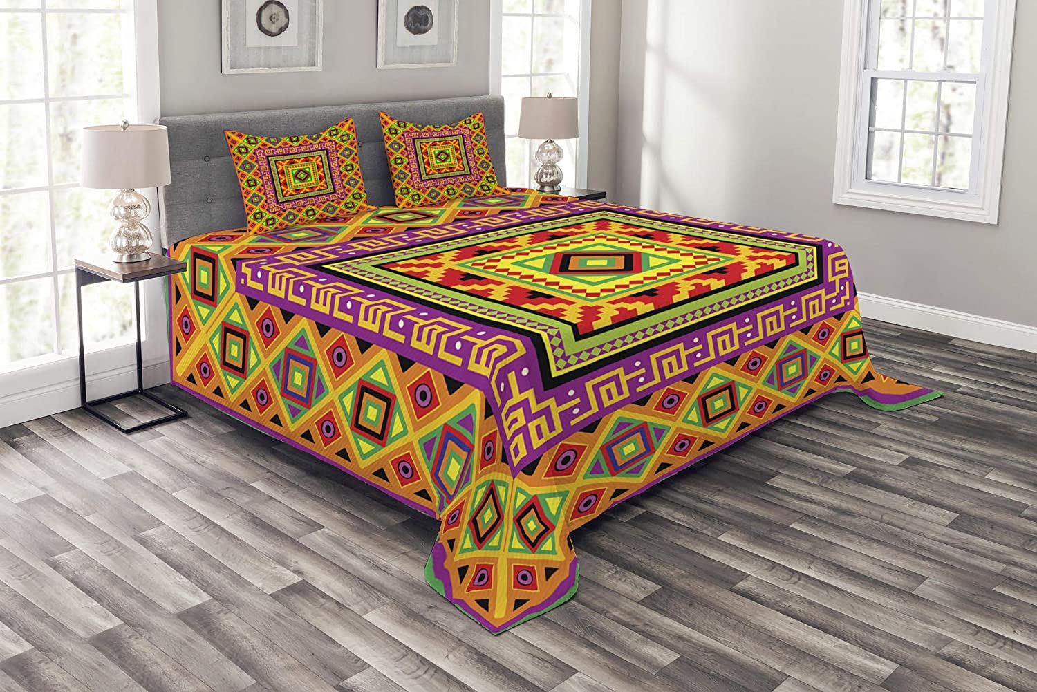 Lunarable Aztec Bedspread, Mexican Ornament with Colorful Squares Indigenous Tribal Framework Antique, Decorative Quilted 3 Piece Coverlet Set with 2 Pillow Shams, Queen Size, Multicolor