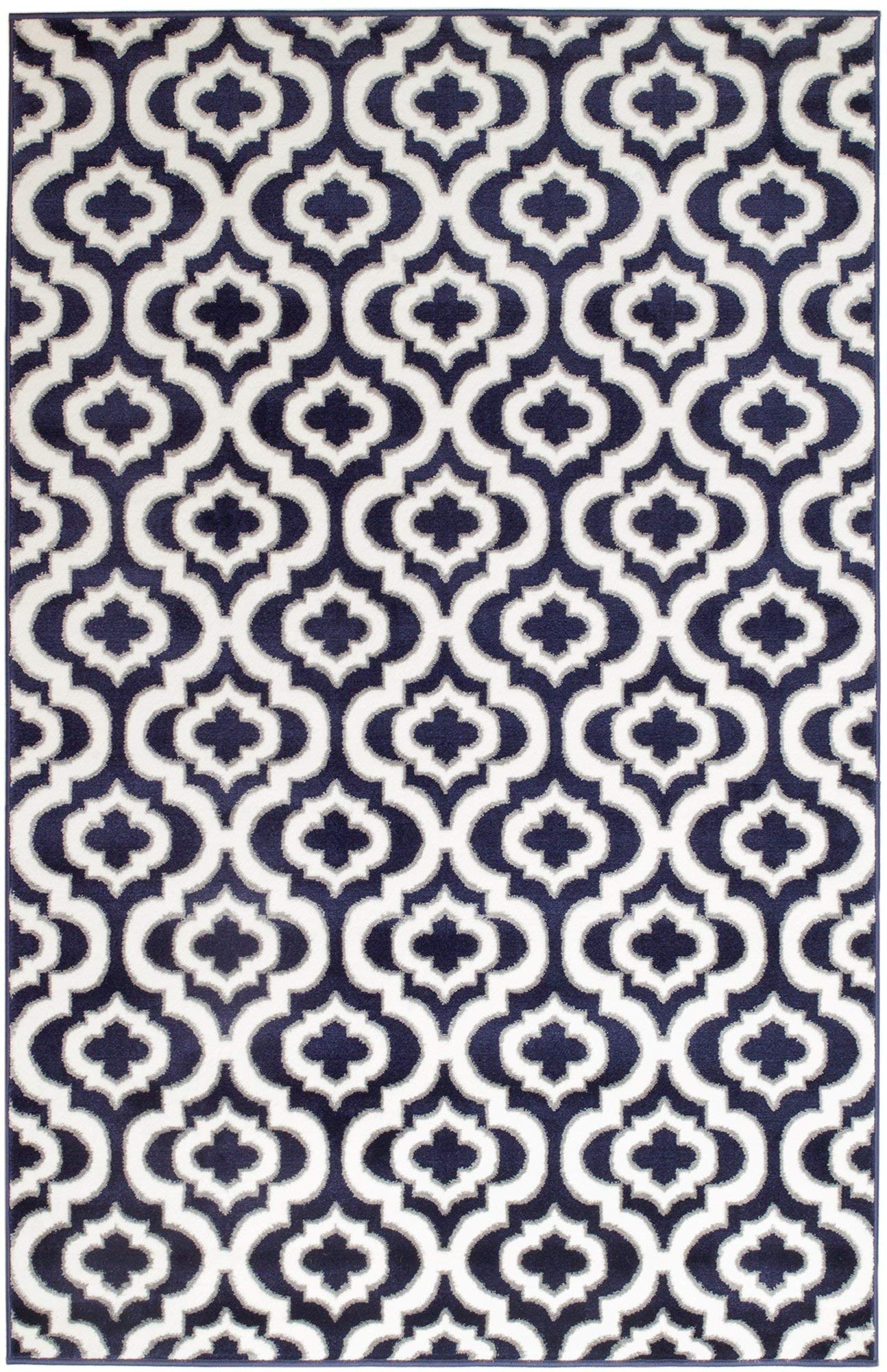 Summit S43 New Navy Blue Morrocan Trellis Area Rug Modern Abstract Rug,(22 INCH X 35 INCH Scatter Door MAT Size)