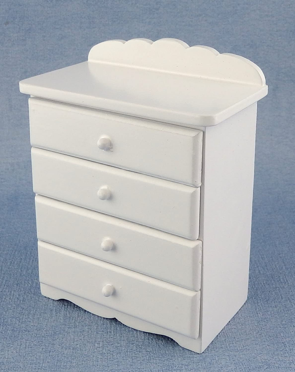 Dollhouse Miniature 1:12 Scale White Wide 4-drawer Chest #T5139 AZTEC IMPORTS