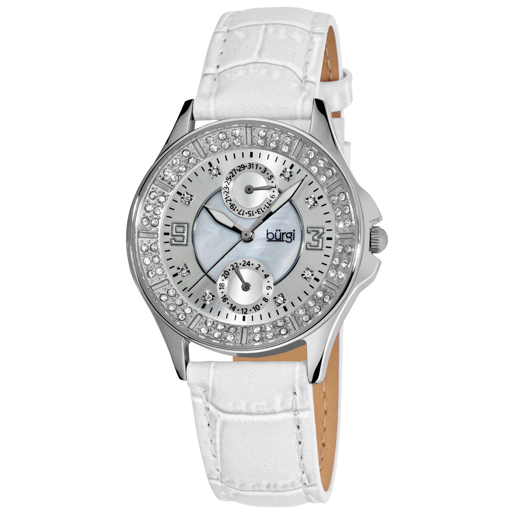 Burgi Women's BUR044 Round Diamond Classic Stainless Steel GMT Date Watch