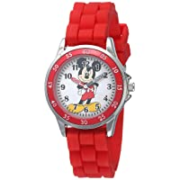 Kids' MK1239 Time Teacher Mickey Mouse Watch with Red Rubber Strap