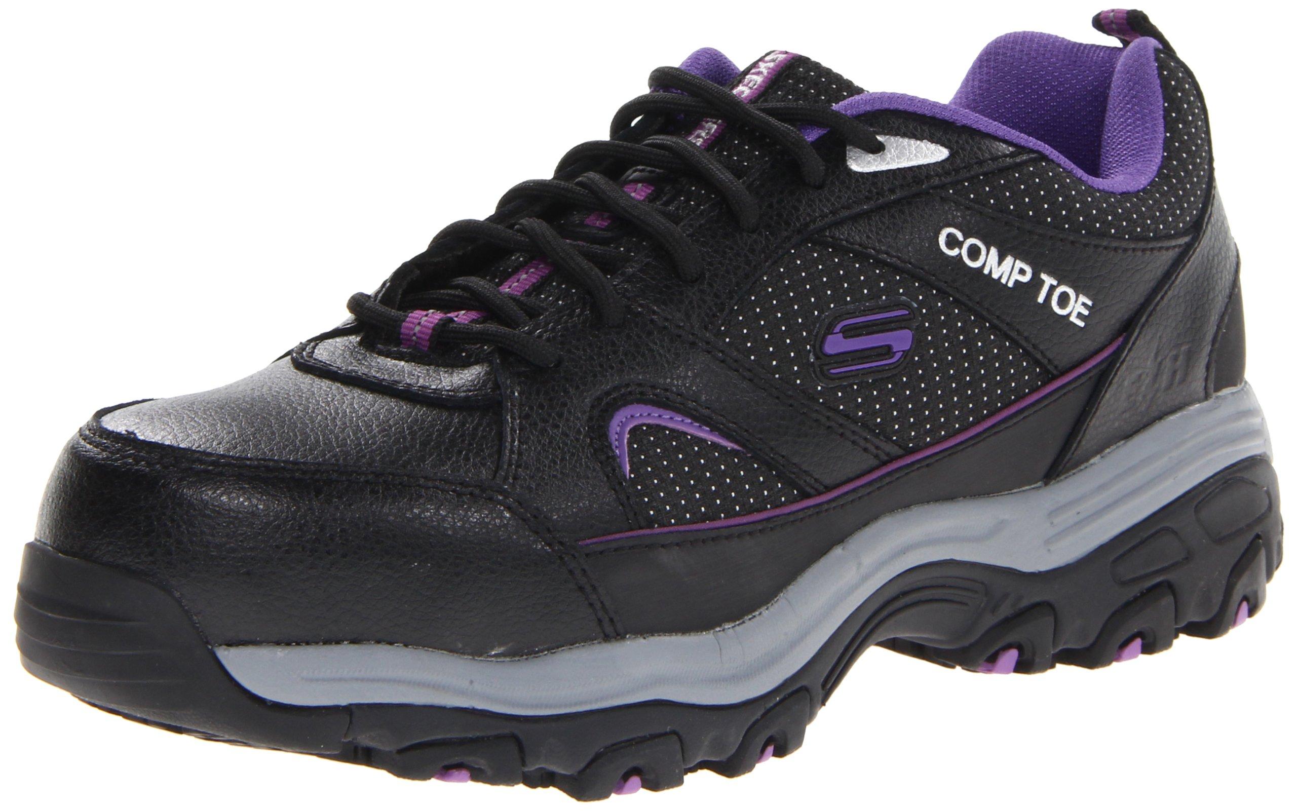 Skechers for Work Women's D'Lite SR Slip Resistant Work Shoe, Black/Purple, 11 M US