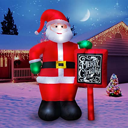 holidayana 10 ft giant inflatable santa claus with merry christmas sign featuring lighted interior