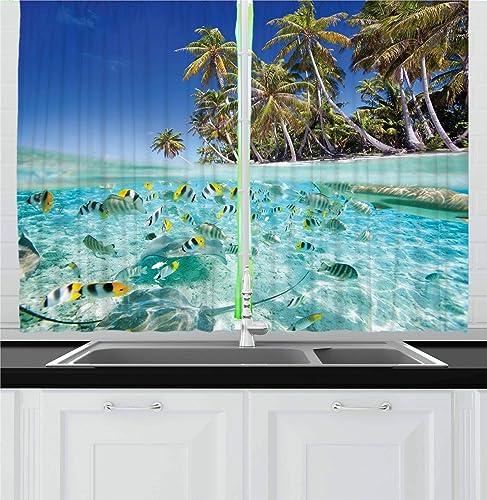 Ambesonne Underwater Kitchen Curtain