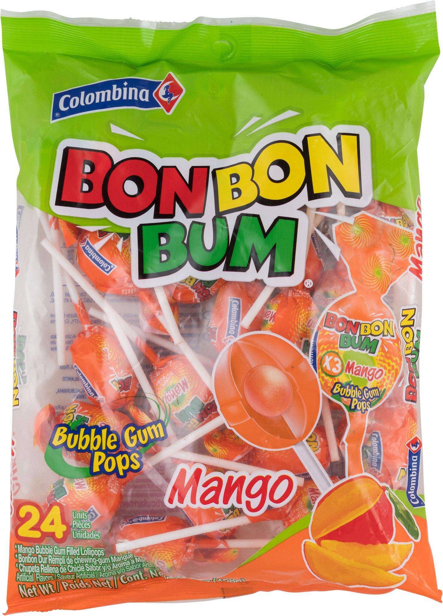 Amazon.com : Colombina Bon Bon Bum Bubble Gum Pops Passion Fruit ...