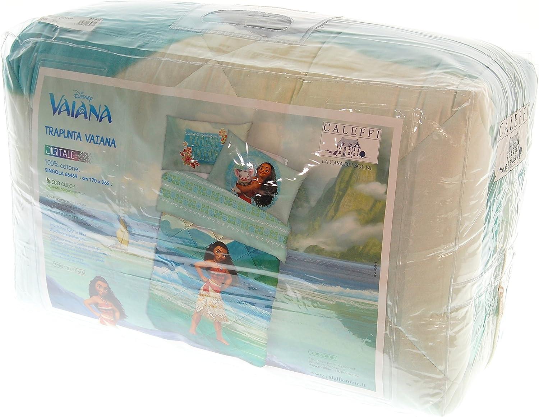 Caleffi - Colcha Disney Vaiana Oceania con impresión digital de puro algodón 100 % 170 x 265 cm, relleno invernal 320 g/m²: Amazon.es: Hogar
