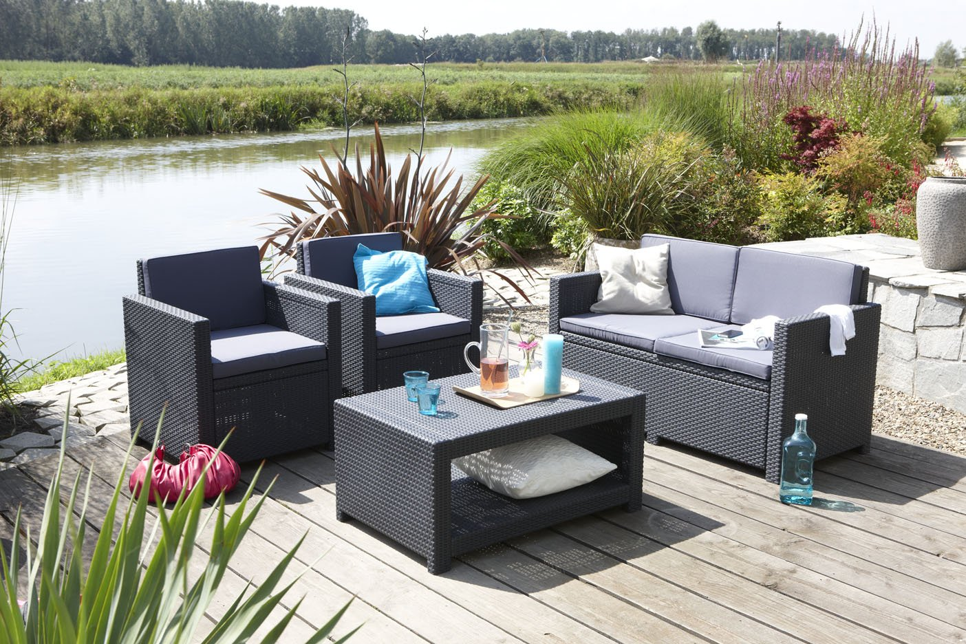 salon monaco salon de jardin aspect rotin tresse. Black Bedroom Furniture Sets. Home Design Ideas