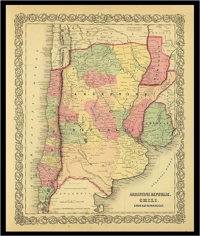 Old Maps Library-Mapa de reproducción vintage de la biblioteca de mapas antiguos de la REPÚBLICA ARGENTINA, CHILI, URUGUAY, PARAGUAY 1856. Parte trasera de lino, mapa plegado.: Amazon.es: Hogar