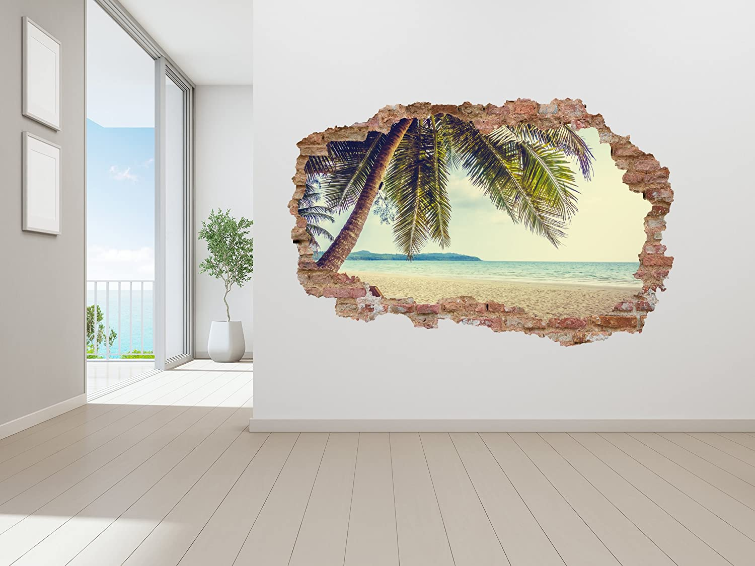 "Ottosdecal Beach Landscape Broken Wall 3D Smashed Bricks Effect Wall Decal Vinyl Sticker for Home Interior Decoration Doors Laptop, Window, Mirror, Car (55"" x 36"")"