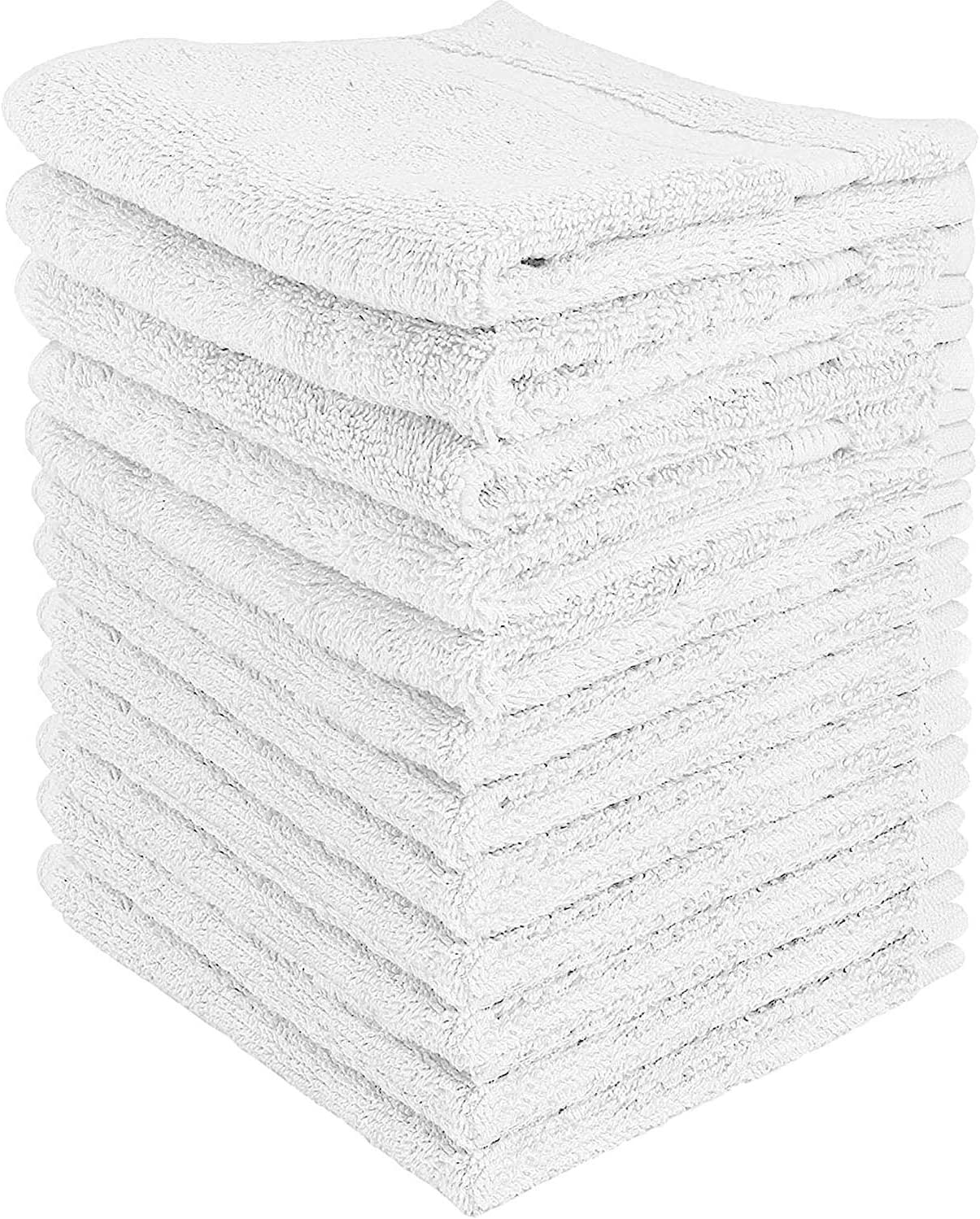 12-Pack White Washcloths - Premium Cotton Face Cloths with Double Stitched Side Hem - Multi-Purpose Wash Rags, Bathroom Towel, Kitchen Towel, and Gym Towel - Machine Washable: Kitchen & Dining