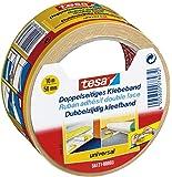 tesa doppelseitiges Klebeband für Teppich Verlegung sowie Bastel- und Dekorationsarbeiten, 25m x 50mm (6, 10m x 50mm)