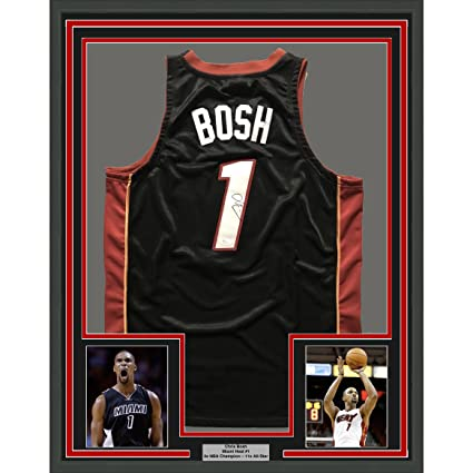 63d3399629d Image Unavailable. Image not available for. Color: Framed Autographed/Signed  Chris Bosh 33x42 Miami Heat Black Basketball Jersey JSA COA